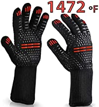 TopBuy BBQ Extra Heat Resistance Grilling Gloves - Oven Mitts for Grill, Barbecue, Cooking, Baking, Long red and Black Cook mitt, Cool Uncut Smoker Glove for Women and Man