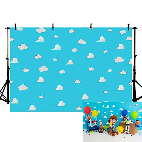 MEHOFOND Blue Sky and White Cloud Birthday Party Backdrop for Kids Baby Shower Photography Background Cake Table Banner Supplies Studio Photo Props 7x5ft