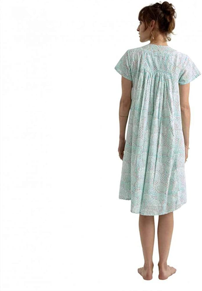 ZEN ETHIC - Robe Col V Petula 100% Coton - Coton Turquoise Mint