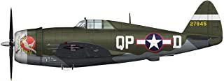 Hobby Master HA8450B Flown by Ace Col. Steve Pisanos: WWII Die Cast Model Fighter P-47D Razorback a Republic P-47 Thunderbolt in 1/48 Die Cast; by Hobby Master