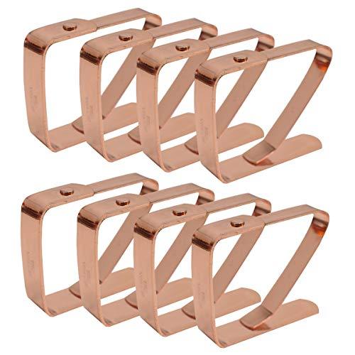 Zuzer Tischdeckenklammer, 8PCS Tischdeckenbeschwerer Edelstahl Tischdecke Clips Tischtuch Clips Tischtuchhalter für Hochzeit Küche Restaurant Tischdecke Tischtuch Tischläufer Tischwäsche(Rose Gold)