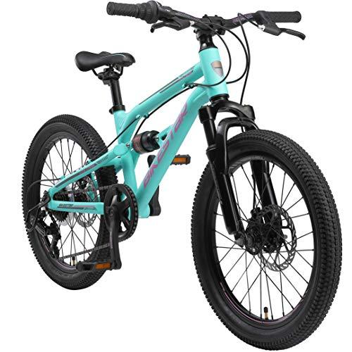 BIKESTAR MTB Mountain Bike Sospensione Completa Alluminio per Bambini 6 Anni | Bicicletta 20 Pollici 7 velocità Shimano, Freni a Disco | Turchese