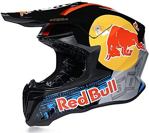 Casco Motocross,Casco de Cross Red Bull Casco Integral Moto Protección Cabeza Cascos ECE Homologado Anti Niebla Protección UV Casco Protector de Color Motocross Clásico Casco A,L