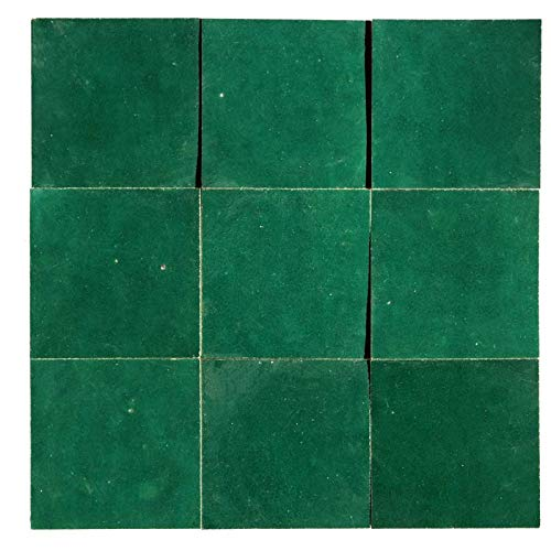 Zellige artesanal verde menta 10 x 10 cm – 100 unidades