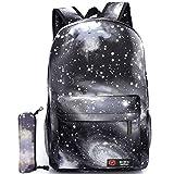 School Backpack for Boys Girls, ICETEK Unisex Galaxy School Backpack Canvas Rucksack Laptop