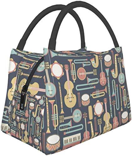 Instrumentos musicales Art Lunch Bag Fiambrera con aislamiento Bolsa de asas más fresca para mujeres-8