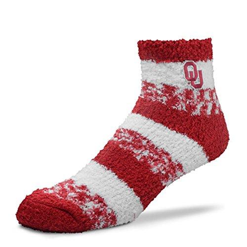 For Bare Feet NCAA RMC Pro Stripe Fuzzy Sleep Soft Sock -Oklahoma Sooners-Size-Medium