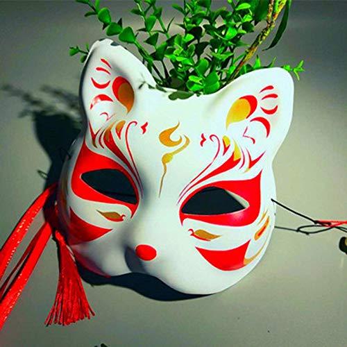 Zhangmeiren Máscara Cara De Gato Máscara De Baile Cara Mitad Cara De Gato Fiesta De Baile Pintada A Mano Máscara De Zorro (Color : 4, Size : 19 * 18cm)