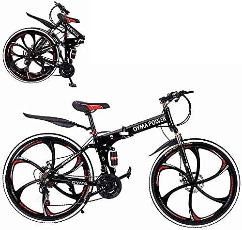 Bicicleta de montaña plegable de 26 pulgadas de 21 velocidades, acero al carbono, suspensión completa MTB bicicleta para adulto, freno de disco doble bicicleta de montaña fuera de carretera (rojo)