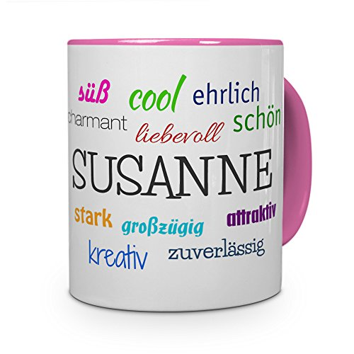 printplanet Tasse mit Namen Susanne - Positive Eigenschaften von Susanne - Namenstasse, Kaffeebecher, Mug, Becher, Kaffeetasse - Farbe Rosa