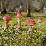 FUFRE 4er Set Deko Fliegenpilze, Rote Runde Fliegenpilze aus Kunstharz, Miniatur Garten Pilze Herbstdeko Natur Figuren für Gartendeko Feengarten Puppenhaus Blumentopf Ornamente