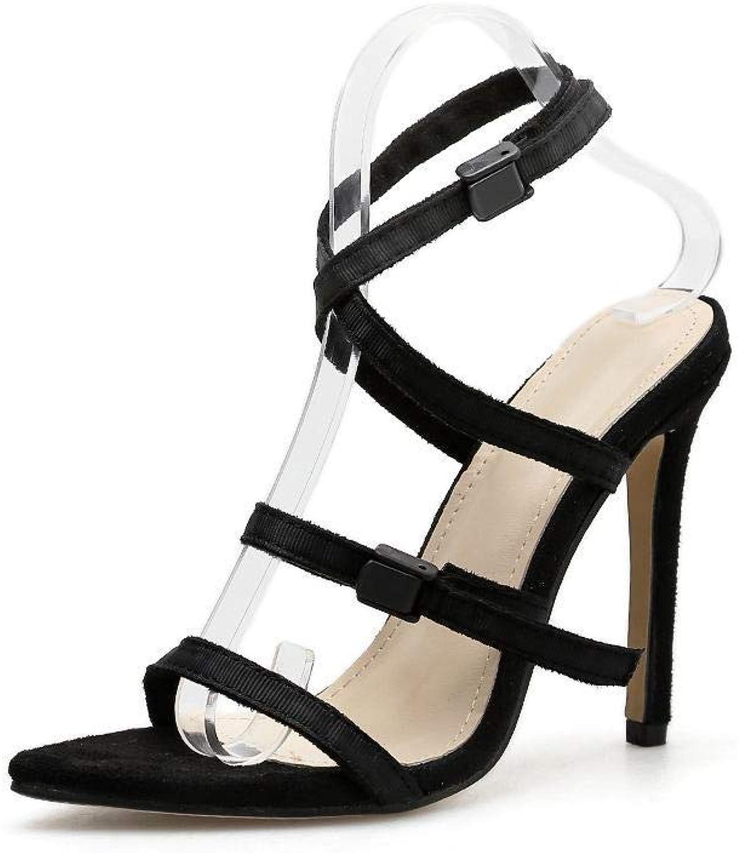 KRPENRIO Women's High Heel Sandals Cross Pointed Fine Super High Heels