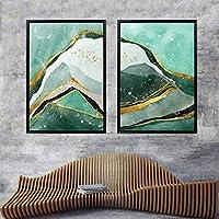 緑の抽象的な山のポスターとプリントキャンバス絵画アート壁の写真リビングルームモダンな抽象的な家の装飾50x70cm-2ピースフレームレス