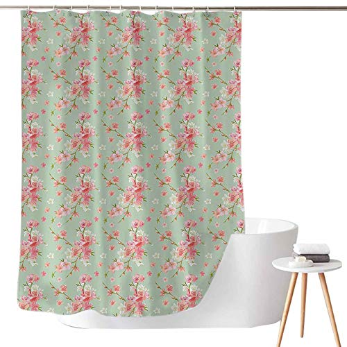 Dasnh Shower Curtains Green and Blue Retro Spring Blossom Flowers with French Garden Florets Garland Artisan Image W72 x L72 3D Printed Shower Curtain
