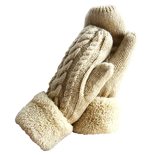 Women's Winter Gloves Warm Lining - Cozy Wool Knit Thick Gloves Mittens in 12 colors (Cream)