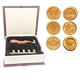 Botokon Wax Seal Stamp Set, 6 Pieces Sealing Wax Stamps Copper Seals + 1 Wooden Hilt, Vintage Retro Classical Initial Wax Stamp Kit for Cards Envelopes, Invitations, Wine Packages