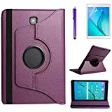Case for Samsung Galaxy Tab S2 8.0 inch (SM-T710 SM-T713 SM-T715),360 Degree Rotating Stand Case Full Protective Smart Cover,Stylus Pen,Screen Film (Purple)