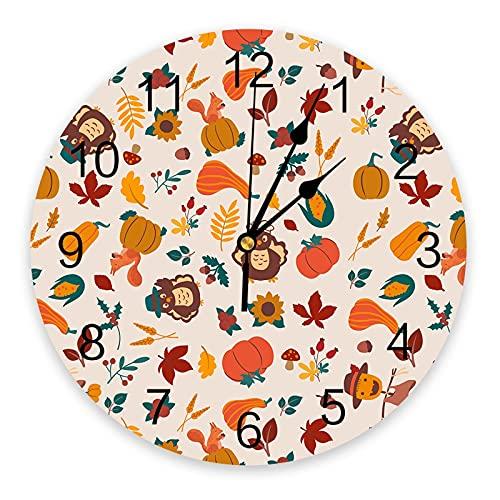 Reloj de Pared Acción de Gracias Calabaza Hoja de Arce Turquía Reloj de Pared Dormitorio Pared silenciosa Reloj Digital Sala de Estar Decoración Reloj de Pared Diseño Moderno
