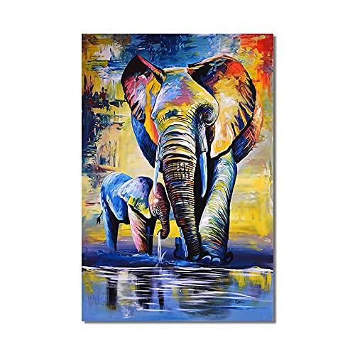 Impresión en lienzo Animales abstractos Elefante colorido Pinturas en lienzo en la pared Carteles artísticos e impresiones Imágenes para la habitación de los niños Decor 40x60cm Sin marco