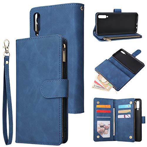 UEEBAI Handyhülle für Samsung Galaxy A50, Retro Reißverschluss Hülle Premium PU Leder Weich TPU Klapphülle Magnetverschluss Kartenfach Standfunktion Geldbörse mit Trageband Schutzhülle - Blau