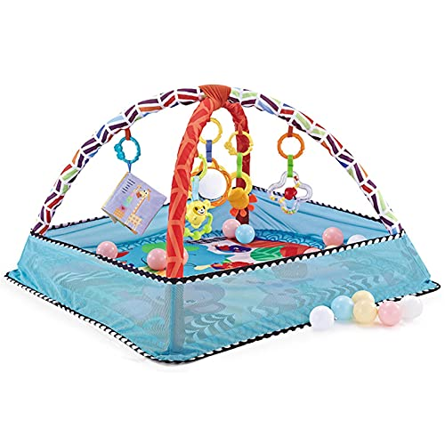 biteatey Baby Play Mat-Activity Play Mat Kick-Infant Kick and Play Activity Center-5 Juguetes, 18 Bolas Oceánicas-con Red Protectora-Tapete De Fitness Y Gimnasio De Actividades- Tapete Safe Baby Kick