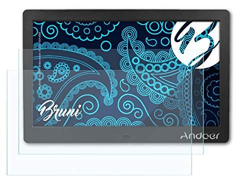 Bruni Schutzfolie kompatibel mit Andoer Digitaler Bilderrahmen 10 Zoll 1024x600 Folie, glasklare Displayschutzfolie (2X)