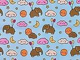 Elefant & Wolken Bedruckter Baumwoll-Popeline-Stoff