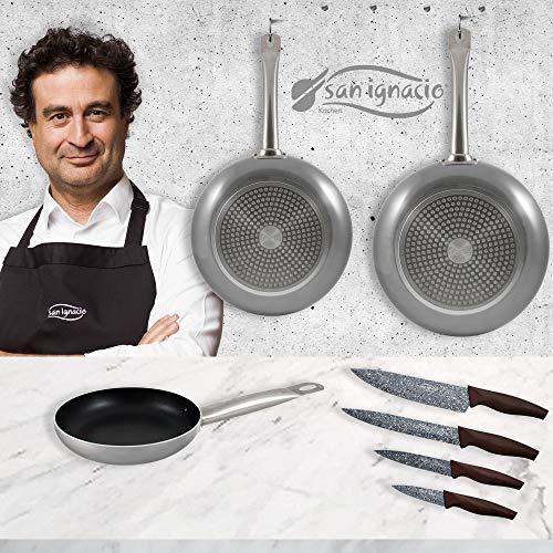 San Ignacio PK1789 Lot de 3 poêles 18,20,24 cm, aluminium pressé, induction, avec set de 4 couteaux de cuisine, acier inoxydable