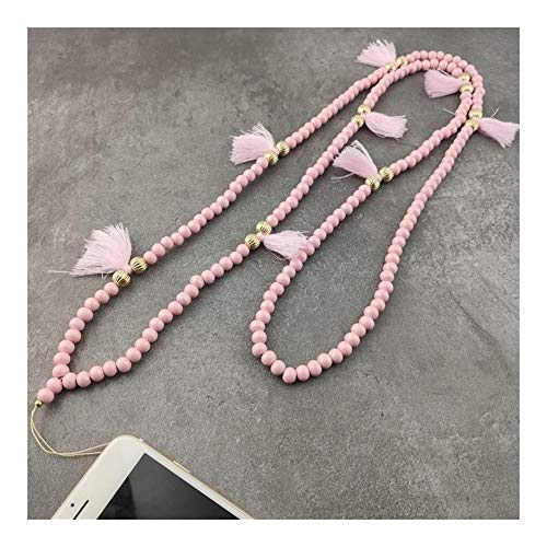 chenran Gift 9 Color Mobile Phone Lanyard Strap Wood Bead Tassel Hanging Neck Rope Telephone Belt Hang Chain Bracelet Accessories (Metal Color : Pink)