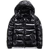 ZSYDS Shiny Down Jacket Men Winter Coat Stand Collar Puffer Jacket with Hood, Outdoor Couple Short Down Jacket (Color : Black, Size : M)