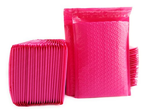 """Kelkaa #0 Pink Poly Bubble Mailers Bulk Self Seal Padded Envelopes 6"""" x 10"""" Shipping Bubble Mailer Bag (Pack of 50)"""