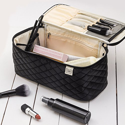 Ellis James Designs Large Travel Makeup Bag Organizer - Cosmetics Train Case Toiletry Bags for Women - Black - With Handle & Make Up Brush Holders - Professional Hair Dryer Cases & Beauty Storage