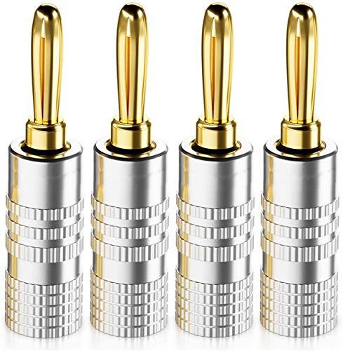 Gebildet 4pcs 4mm Clavija Banana Conectores Altavoce,24K Oro enchapado Bananas Altavoces Enchufe Adaptador para Altavoces