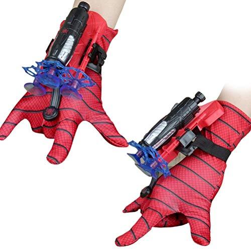 Usmato Guantes lanzadores para Spider-Man, Guantes de plástico para Cosplay para niños, Juego de Juguetes de muñeca Hero Launcher, Divertidos Juguetes educativos para niños, Talla única de Cosplay