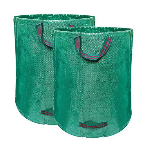 AGAKY 2er Gartensäcke grünabfall, Gartenabfallsäcke 272L aus robuste PP, Gartensack für Gartenmüll Selbststehend und Faltbar 4 reißfeste Griffe