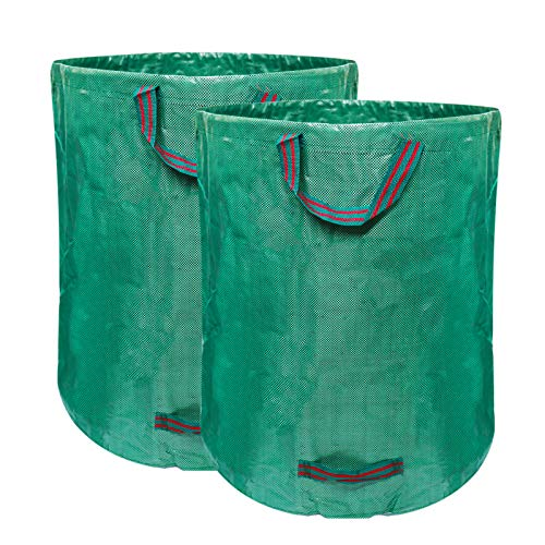 AGAKY 2pcs x 272L Bolsas de Basura de Jardín, Gran Capacidad, Plegables y Reutilizables, para Residuos de Jardín, Hojas Secas, Restos de Poda, Residuos de Plantas