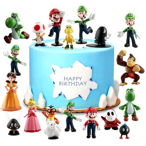 Decoración de Tartas Cumpleaños, Super Mario Cupcake Toppers,Super Mario Toys,Figuras de Super Mario Bros para Decoración de Tartas,Suministros para Decoración de Tartas,Decoración de Fiestas (18 pcs)