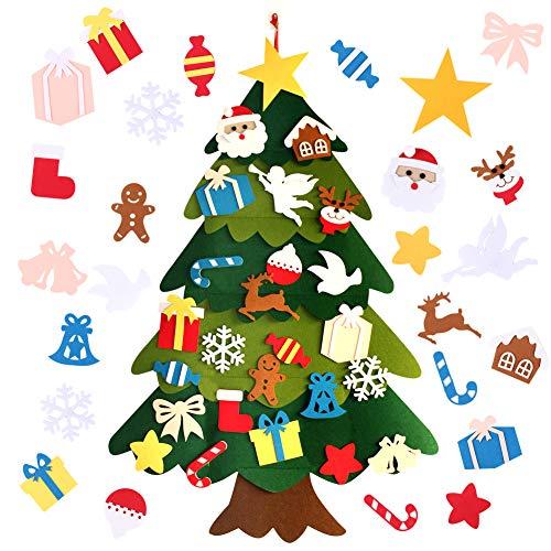 クリスマス 飾り 壁掛け フェルトクリスマスツリー オーナメント 25個入りセット 部屋 クリスマス 壁掛け 飾り 玄関 クリスマス デコレーション クリスマス飾り 手作り 25個フェルトペンダント入りセット&クリスマスツリー贈り物 (F001) (F003, F003)
