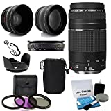 Canon EF 75-300mm f/4-5.6 III Telephoto Zoom Lens with 2X Telephoto Lens, HD Wide Angle Lens and Accessories (8 Piece Kit)