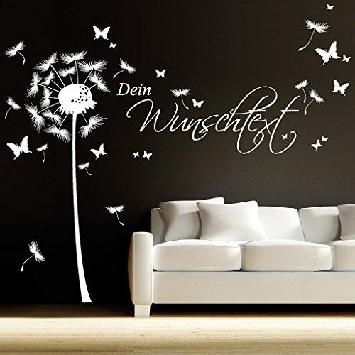 Wandtattoo Pusteblume Wunschtext Löwenzahn Pollen Wohnzimmer Kinderzimmer Schmetterlinge / 15 Mint / 1,40 m Höhe x 4,42 m Breite