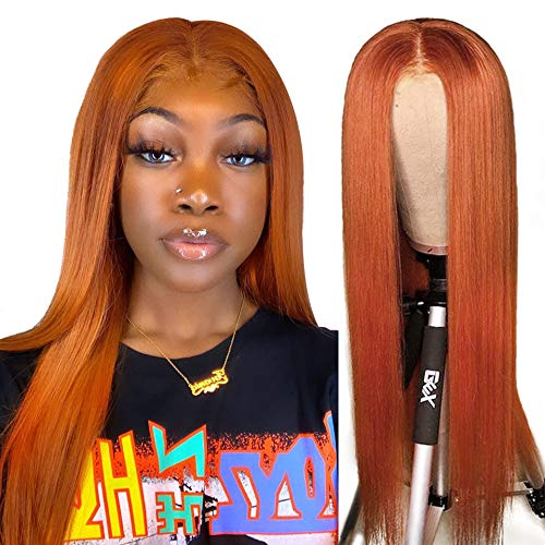 XSZM Orange Ginger Silky Straight Lace Front Wig Human Hair Pre Plucked for Black Women 150% Density Brazilian Remy Hair HD Transparent 13X6 T-Middle Deep Part Lace Wig With Baby Hair(22 Inch)