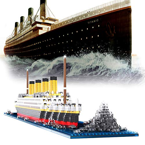 Titanic Model Micro Blocks Building Set, 3D Puzzle DIY Educational Toy, Gift for Adults and Children(1860 pcs) (Titanic)