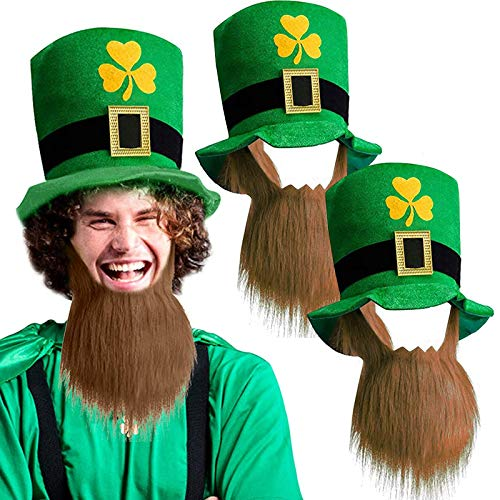 2 Pack St. Patricks Party Hat St. Patricks Day Accessories Green Leprechaun Top Hat With Brown Beard for Men Women Teens, Shamrocks Velvet Irish Day Costume Party Supplies Favors