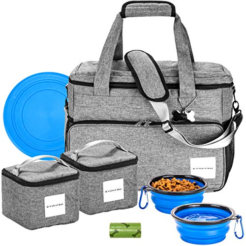 Dog Travel Bag by Evolved – Supply Bag for Pets with 2 Food Storage Containers, 2 Collapsible Dog Bowl and Frisbee – Complete Traveling Gear Tote Bag for Dogs – Ergonomic and Compact Design