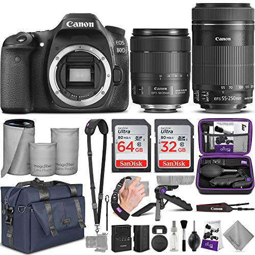 Read About Canon EOS 80D DSLR Camera and Canon EF-S 18-135mm f/3.5-5.6 is USM + EF-S 55-250mm f/4-5....