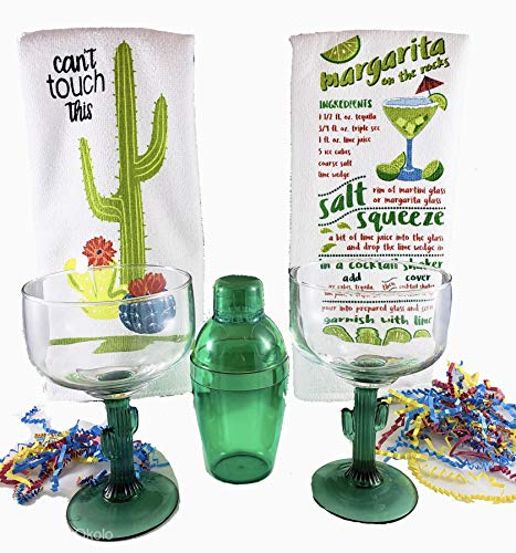 Cinco de Mayo Cactus Margarita Glass And Cocktail Shaker Gift Set Includes Set of 2 Cactus Margarita Glasses, Green Cocktail Shaker Kit, 2 Margarita Recipe Kitchen Towels With Additional Bonus Recipe