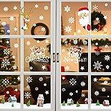 Pegatinas de Navidad 6 Hojas Ventana Decoración Navidad Alce Santa Copo de Nieve Monigote de Nieve Pegatinas PVC Extraíbles Reutilizable