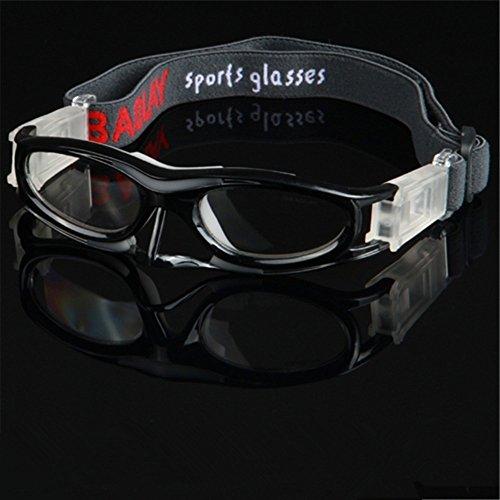 EnzoDate Flexible Teen Erwachsene Basketball Brille für Männer Frauen Sportbrillen, Fußball Brillen, Radsportbrillen, Volleyball Augenschutz Rahmen (Schwarz)