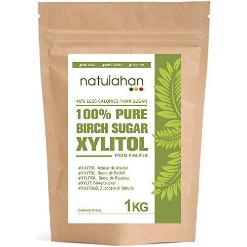 Natuiahan Xylitol 1KG. Sucre de Bouleau de Finlande. Édulcorant 100% Naturel. Récipient Scellé Auto-obturant