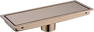 Bathroom Stainless Steel 12 Inch Linear Shower Floor Drain with Tile Insert Grate,Champagne Bronze